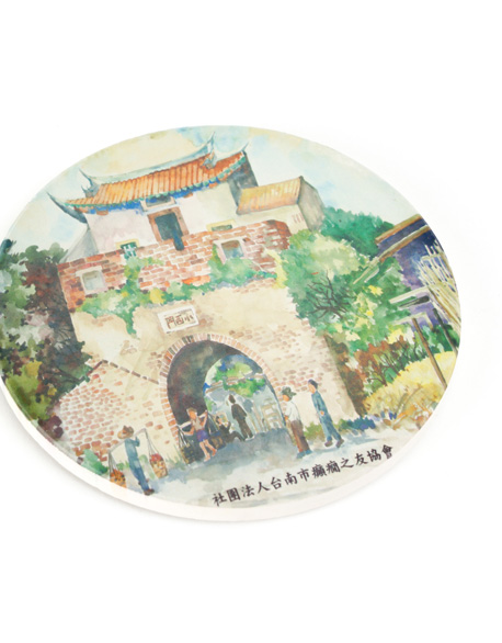South Gate painted ceramic water-absorbing cup mat