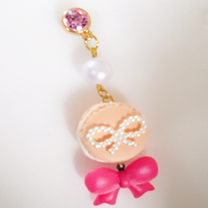Fashion Hand dust stopper pendant-head drill -24~ complexion macarons Pink Bow ~zina 000447