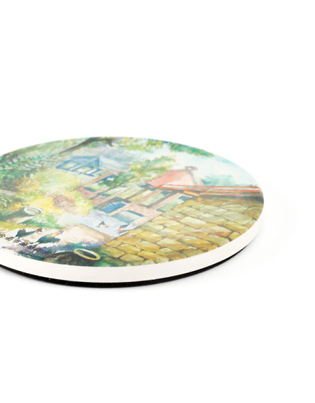 Pastoral painted ceramic water-absorbing cup mat